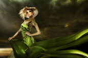 Fashion model wearing green