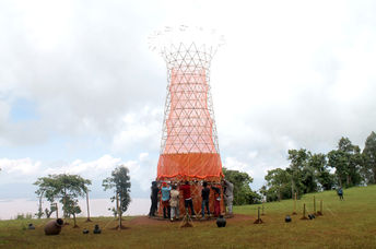 Assembling a Warka Water tower in Ethiopia