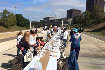 Ohio residents sit down to dinner as part of '500 Plates' (Hunter Franks)
