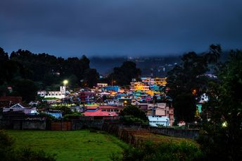 Ooty, India. Aerial view of Nilgiri mountain village Ooty in Tamil Nadu, India.