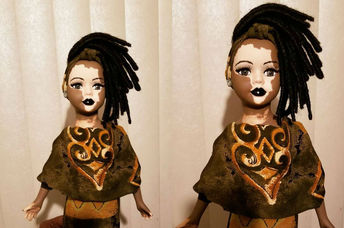 A custom-made doll with vitiligo by Kay Customs
