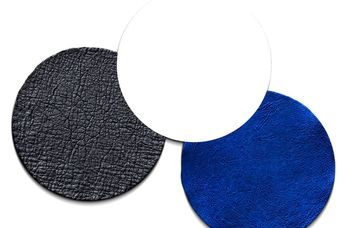 Three samples of Modern Meadow's world's first biofabricated leather.