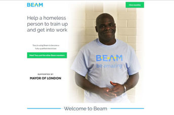 A screenshot of the Beam homepage