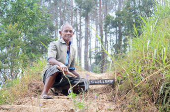 Farmer Sadiman is trying to convince locals that the water shortage problem that happens during dry seasons can be partly solved by planting trees on the denuded hills.