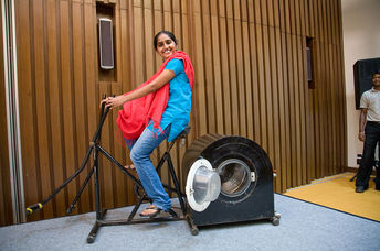 Remya Jose shows off her pedal-powered washing machine