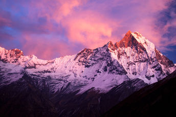 Machapuchare mountain in the Annapurna Himalayas of north central Nepal