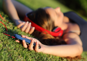 Using a sleep app in the park (Shutterstock)