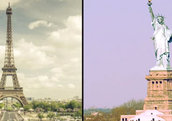 A split-screen of the Eiffel Tower and the Statue of Liberty.