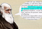 Animated Charles Darwin with text box