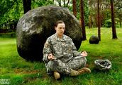 A US army veteran takes part in a Give Back Yoga session