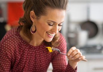 Vegetarian woman eating