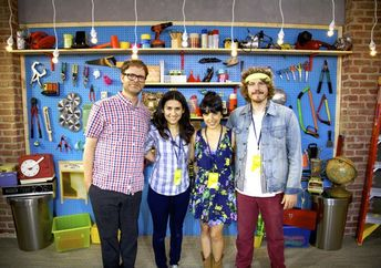 SoulPancake's core staff (left to right): Rainn Wilson, Shabnam Mogharabi, Golriz Lucina, and Devon Gundry