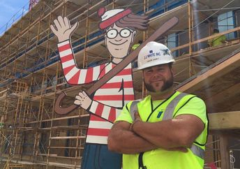 Jason Haney built an 8-foot Waldo cutout with his daughter, which he hides all over his construction site (Facebook)