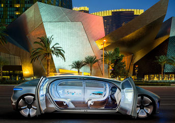 The Mercedes-Benz F 015 Luxury in Motion, a concept car representing the future of autonomous vehicles.