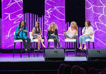 From left to right: Dr Jacqui Lewis, Valarie Kaur, Seane Corn, Glennon Doyle Melton, Jennifer Rudolph Marsh. (Together Tour)