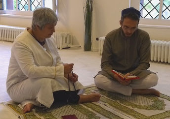 Seyran Ates and Ludovic-Mohamed Zahed, a gay Imam from Paris, France, sit together at the Ibn Rushd-Goethe Mosque in Berlin, Germany.