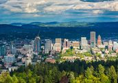 View of the Portland skyline from Pittock Acres Park, in Portland, Oregon