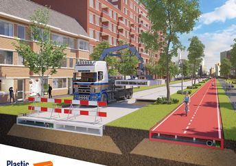 A 3D animation shows the future uses of PlasticRoad made from recycled plastic waste.