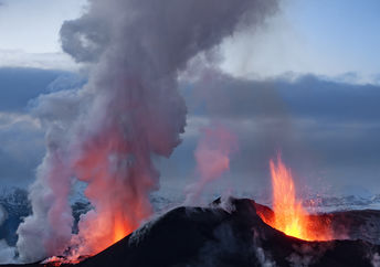 Volcano eruption in Eyjafjallajokull in Iceland