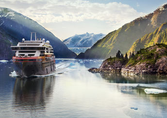 MS Roald Amundsen in Tracy Arm Fjord