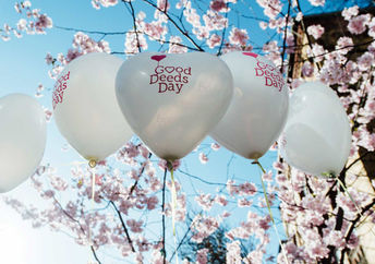 Balloons show the way to Good Deeds Day.