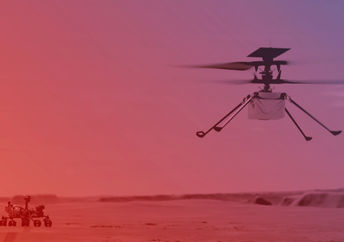 An illustration of NASA's Ingenuity helicopter in flight with the rover Perseverance watching below.