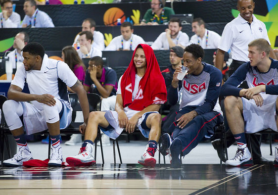 Stephen Curry of USA (middle) at FIBA World Cup basketball match between USA Team and Lithuania, final score 96-68, on September 11, 2014