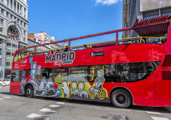 A city tour bus in Madrid.