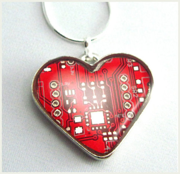 Heart necklace made from a circuit board