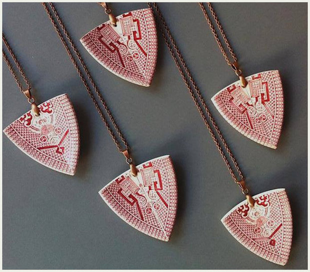 Delicate pendants made from vintage tea cups