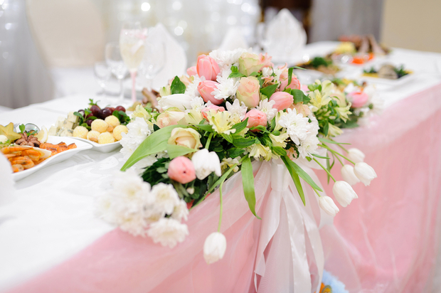 Wedding table with flowers and food