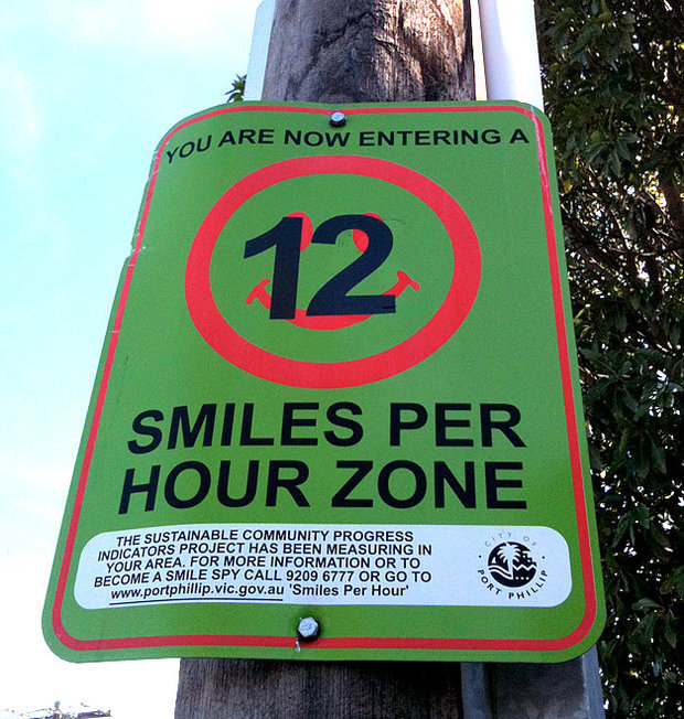 Smiles per hour zone sign in Port Phillip, Australia.