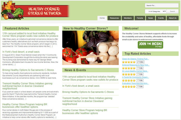 Screenshot of Healthy Corner Stores Network