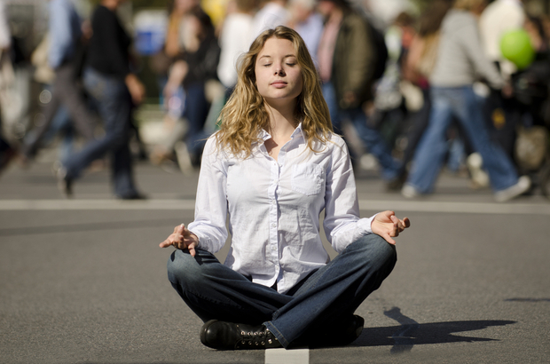 Meditating on a busy street