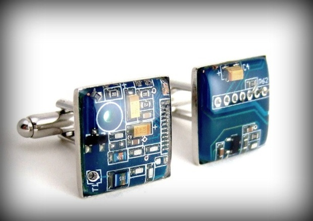 Earrings made from upcycled circuit boards