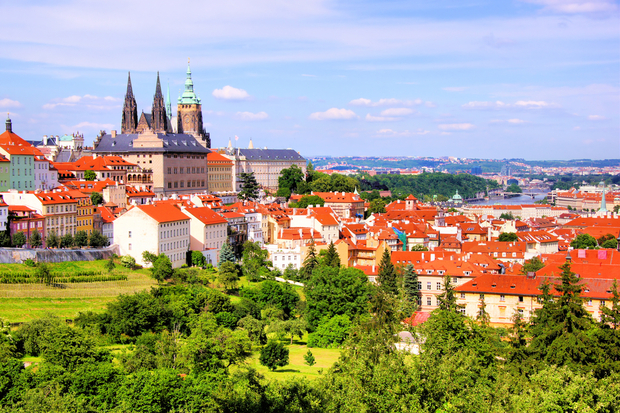 View over historic center of Prague with castle, Czech Republic