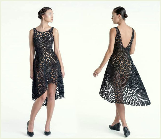 3D printed dress made out of a single piece of plastic