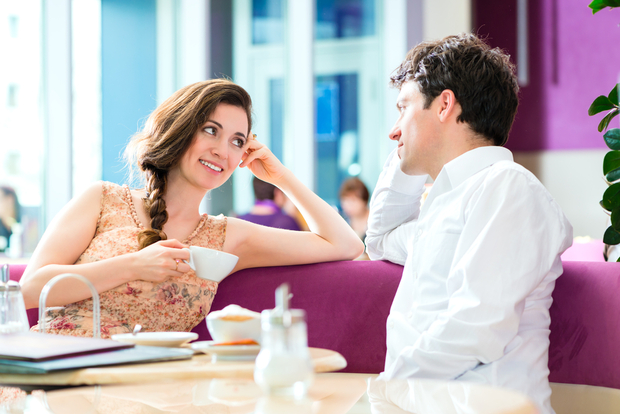 Man and woman drinking coffee relaxed