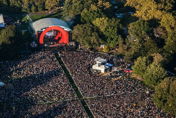 An aerial view of the 2014 Global Citizen Festival in New York