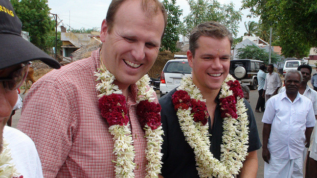 Gary White and Matt Damon visit water projects in India
