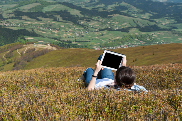 Using a tablet outdoors