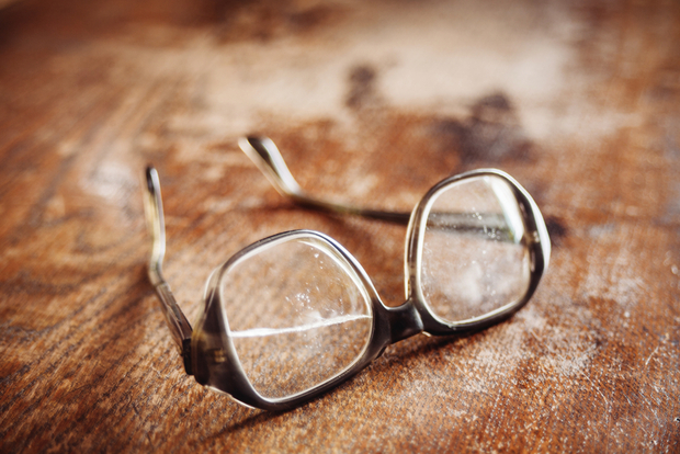 Old eyeglasses ready for recycling