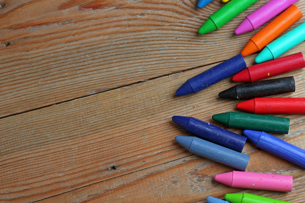 Colored crayons ready for recycling