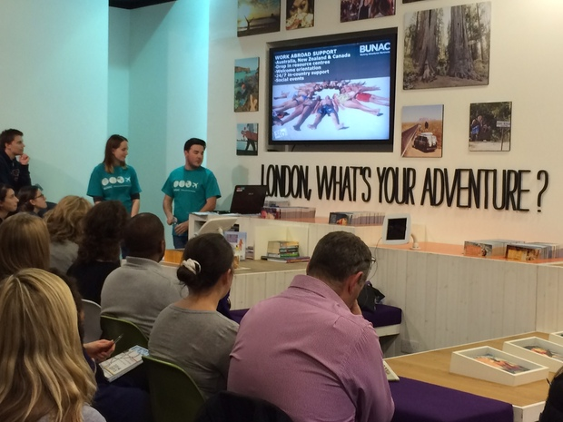 A travel presentation in BUNAC's London office