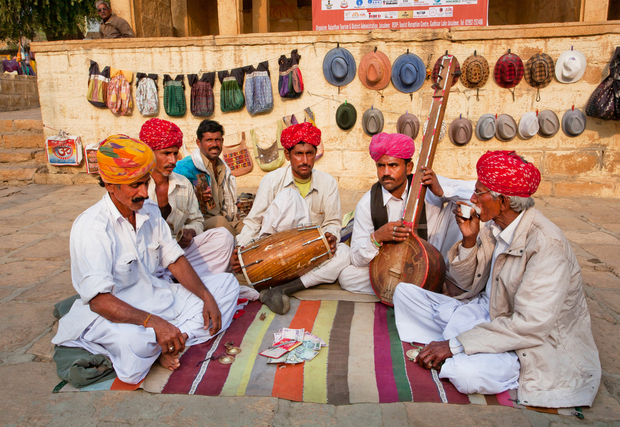 Traditional music on the streets of Jodhpur, India.