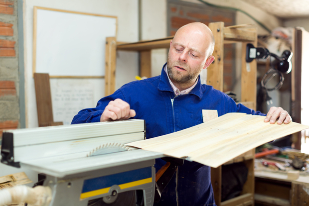 Man concentrating on work