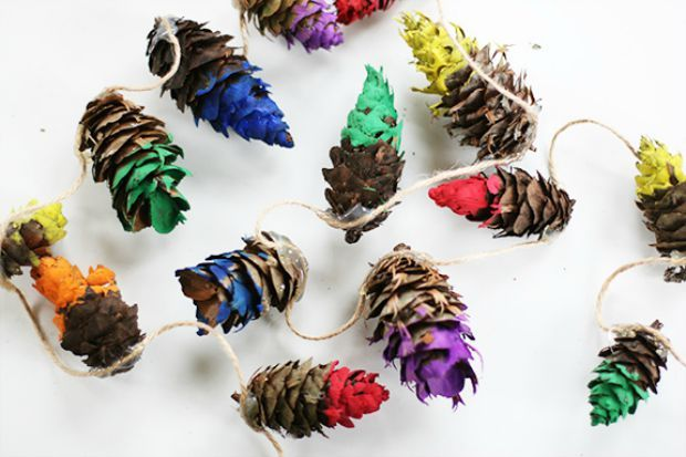 Colorful pinecone garland