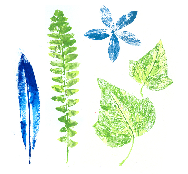 Painted leaves on paper