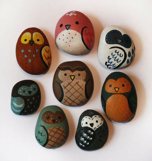 Rocks painted like owls
