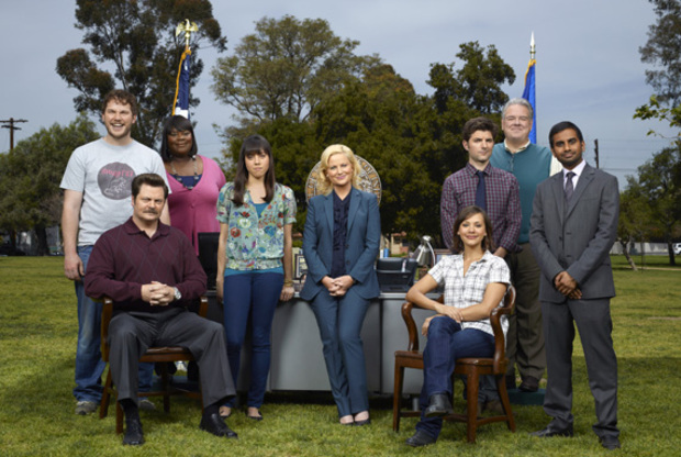 The cast of Parks and Recreation, headed up by Amy Poehler as Leslie Knope